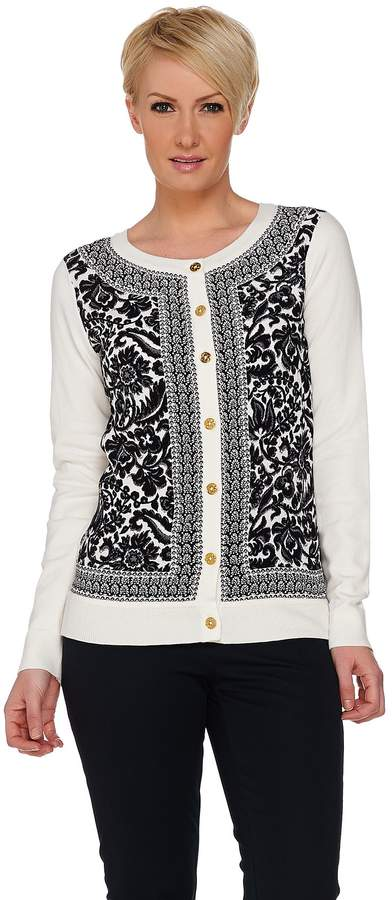 C. Wonder Printed Woven Front Knit Cardigan with Status Buttons