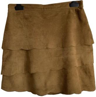 Maje Khaki Suede Skirt for Women