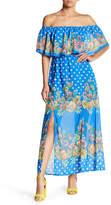 Flying Tomato Floral Dot Off-the-Shoulder Maxi Dress