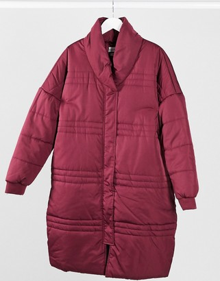 NATIVE YOUTH longline puffer jacket in burgundy