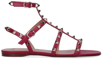 Valentino Rockstud Ankle Strap Flat Sandals