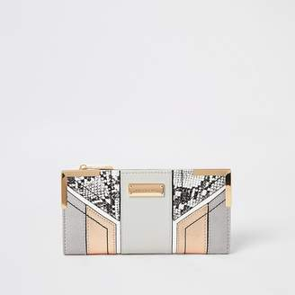 River Island Grey snake print cut about fold out purse