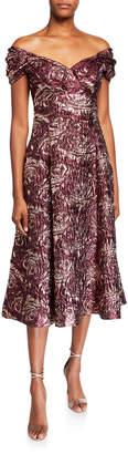 Rickie Freeman For Teri Jon Textured Jacquard Off-the-Shoulder Midi Dress