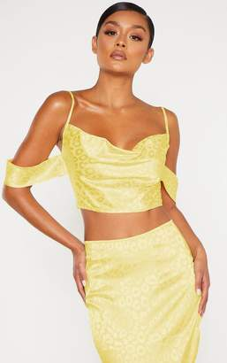 Bardot 4fashion Yellow Satin Jacquard Leopard Print Strappy Crop Top
