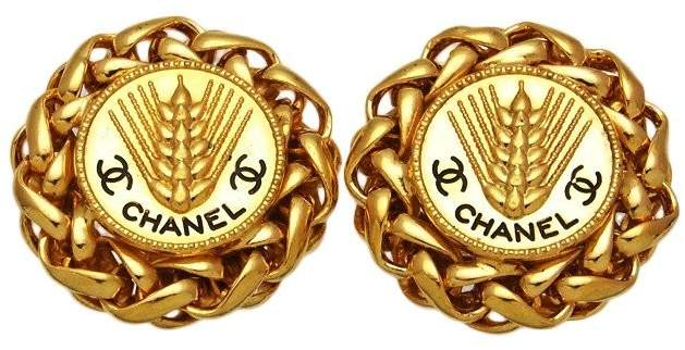 Chanel CC Logo Gold Tone Metal Rice Ear Round Earrings