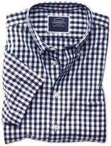 Charles Tyrwhitt Classic Fit Button-Down Non-Iron Poplin Short Sleeve Navy Blue Gingham Cotton Casual Shirt Single Cuff Size Large