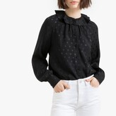 La Redoute Collections Ruffled Jacquard Polka Dot Blouse with Long Sleeves