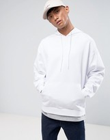Asos Oversized Hoodie With T-Shirt Hem In White