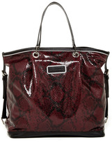 Longchamp Reptile Embossed Leather Open Tote