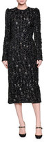 Dolce & Gabbana Long-Sleeve Metallic Midi Dress, Black/Gold
