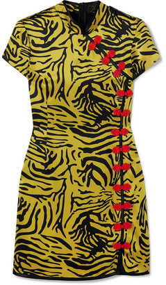 De La Vali Suki Tiger-print Silk-satin Mini Dress - Yellow