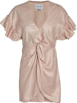 Saylor Brookey Knotted Jacquard Mini Dress