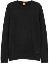 Boss Kroy Charcoal Textured-knit Wool Jumper