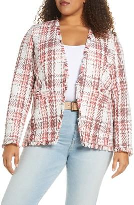 Halogen Open Front Plaid Tweed Jacket