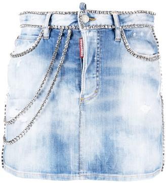 DSQUARED2 Crystal-Embellished Denim Skirt