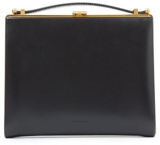 Jil Sander Metal-frame Leather Clutch Bag - Black