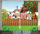 Kids Curtains Cartoon Decor by Ambesonne, Collection of Cute Farm Animals on the Fence Comic Mascots with Dog Cow Horse for Kids Decor, Living Room Bedroom Curtain 2 Panels Set, 108 X 90 Inches, Multi