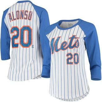Majestic Women's Threads Pete Alonso White/Royal New York Mets Pinstripe Player Name & Number Raglan 3/4-Sleeve T-Shirt