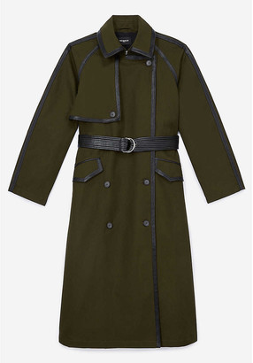 The Kooples Leather-trim cotton trench coat