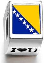 Soufeel 925 Sterling Bosnia and Herzegovina Flag Photo I Love U European Charms Fit European Bracelets