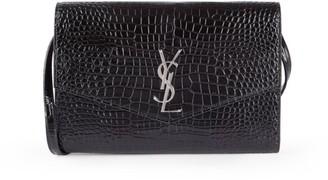 Saint Laurent Cassandra Croc-Embossed Patent Leather Wallet-On-Chain