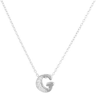 Latelita Diamond Initial Letter Pendant Necklace Silver G