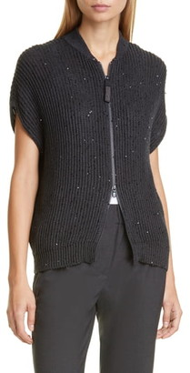 Brunello Cucinelli Sequin Rib Zip Cardigan