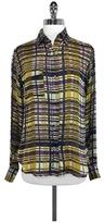 Suno Plaid Silk ButtonUp Blouse