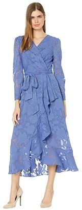 Tahari ASL Chiffon Textured Burnout Long Sleeve Dress with Side Tie (Periwinkle) Women's Dress