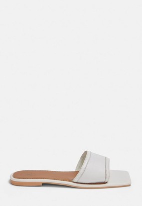 Missguided White Square Toe Leather Flat Sandals
