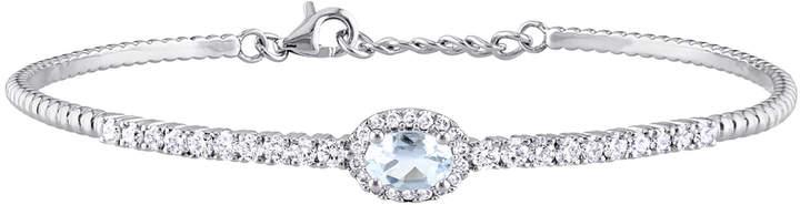 Rina Limor Fine Jewelry Women's 14K White Gold, Aquamarine & 0.63 Total Ct. Diamond Bracelet