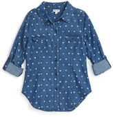 Splendid Girl's Polka Dot Denim Shirt