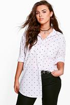 Boohoo Plus Alli Star Print Oversized Shirt