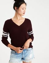 American Eagle Outfitters AE Varsity Stripe V-Neck Sweater