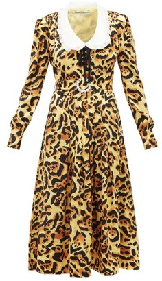 Alessandra Rich Leopard-print Silk-satin Midi Dress - Womens - Leopard