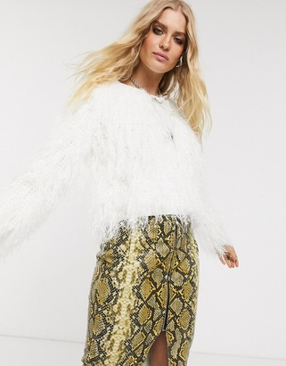 Asos Design DESIGN crop tassel jumper-White