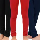TeeHee Kids Naartjie Kids Girls Fleece Inner Brushed Leggings 3 Pack, Plain Red+Navy+Black, 3-5 Years
