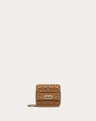 Valentino Micro Rockstud Spike Bag With Beaded Detailing Women Dark Gold Cotton 100% OneSize