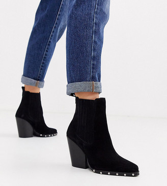 ASOS DESIGN Wide Fit Relative suede studded heeled western boots in black