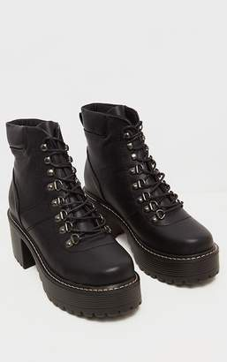 PrettyLittleThing Black Cleated Platform Chunky Hiker Lace Up Ankle Boot