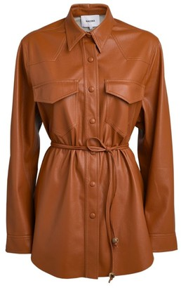 Nanushka Eddy Vegan Leather Belted Shirt