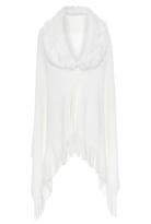 Quiz White Fur Collar Knit Cape
