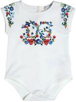 Dolce & Gabbana Floral Printed Cotton Jersey Bodysuit