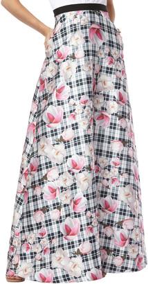 Kay Unger Crepe Printed Mikado Skirt