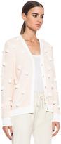 3.1 Phillip Lim Dandelion Knit Cardigan in White & Peach
