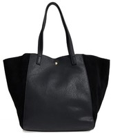 Sole Society Norah Slouchy Faux Leather & Suede Tote - Black