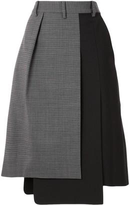 Tibi Contrast-Panel Pleated Skirt