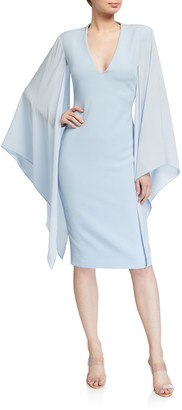 Badgley Mischka Georgette Sleeve Crepe Sheath Dress