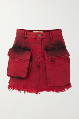 Marques Almeida Frayed Acid-wash Denim Mini Skirt - Red