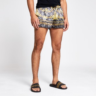 River Island Mens Jaded London Grey snake baroque shorts